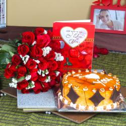Red Roses Bouquet with Love Greeting Card and Butterscotch Cake for Kolkata