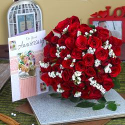 Red Roses Bunch with Anniversary Greeting Card for Bangalore