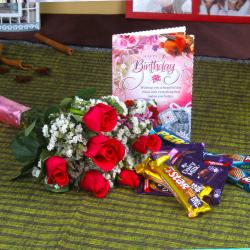 Red Roses with Assorted Chocolates and Birthday Card for Bhopal