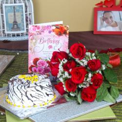 Red Roses with Cake and Birthday Greeting Card for Kolkata