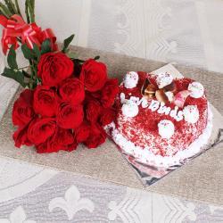 Red Roses with Heart Shape Velvet Cake for Siliguri