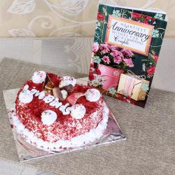 Red Velvet Cake with Anniversary Card for Hyderabad