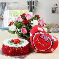 Red Velvet Cake with Red Heart Small Cushion and Roses Arrangement