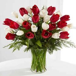 Red With White Flower Vase for Jalandhar