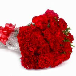 Romance Remindering Red Carnations Bouquet for Hyderabad