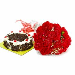 Romantic 20 Red Carnations with Black Forest Cake for Jaipur