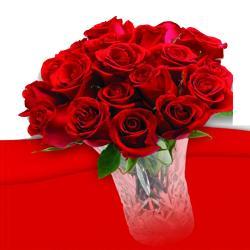 Romantic 21 Roses In vase for Dewas