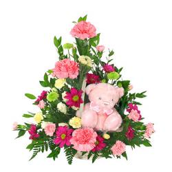 Romantic Flowers with Teddy Hamper for Delhi