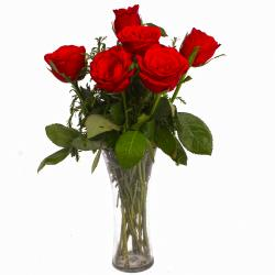 Romantic Six Red Roses in Vase for Pune