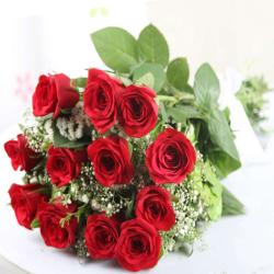Romantic Twelve Red Roses Bouquet for Lucknow