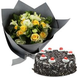 Roses And Black Forest Cake for Jalandhar