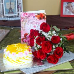 Roses and Cake for Your Birthday for Kolkata