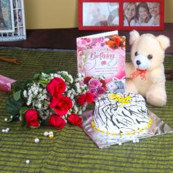 Roses and Cake Hamper Including Teddy with Birthday Card for Imphal