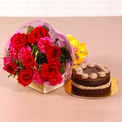 Roses and Carnations Bouquet with Chocolate Cake
