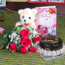 Roses and Chocolate Cake Hamper Including Teddy Bear with Birthday Greeting Card for Thanjavur