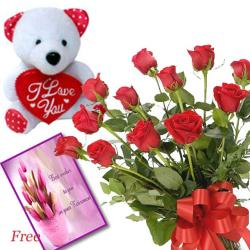 Roses and Teddy with Free card for Moga