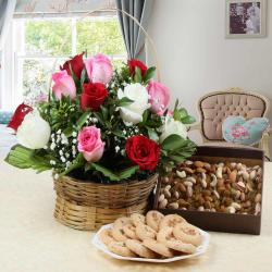Roses Arrangement with Assorted Dry Fruits and Cookies for Manipal