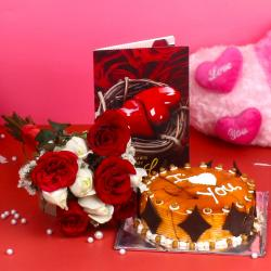 Roses Bouquet with Butterscotch Cake and Love Greeting Card for Baroda