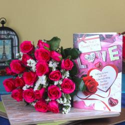 Roses Bouquet With Love Card for Hyderabad