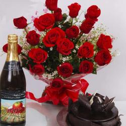 Roses Bouquet with Wine Bottle and Cake for Chennai