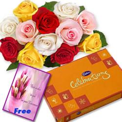 Roses Chocolates With Greeting Card for Hyderabad
