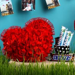 Roses Heart Cushion with Imported Chocolate Bucket for Indore