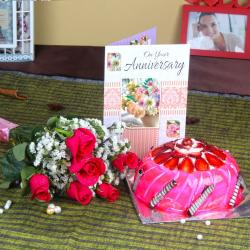 Roses with Strawberry Cake and Anniversary Card for Madras