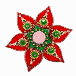 Royal Rangoli of Small Bells and Mirror studded with Mini Pompom Design for Rajahmundry