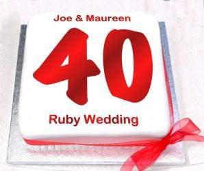 Ruby Wedding Anniversary Cake for Ghaziabad