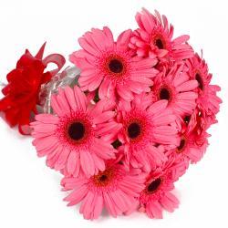 Send 10 Pink Gerberas Flowers Bouquet Online for North Goa