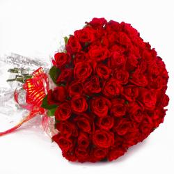 Seventy Five Red Roses Bouquet for Jaipur
