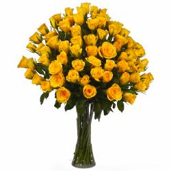 Seventy Five Yellow Roses in a Glass Vase for Hyderabad