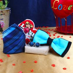 Shaded Blue Strips Cufflink Handkerchief with Panel Bow and Love Card for Chennai