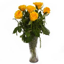 Shiny Six Yellow Roses in Vase for Pune