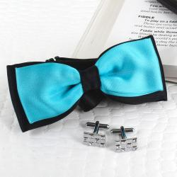 Silver Cufflink an Micro Jacquard Panel Bow for Ghaziabad