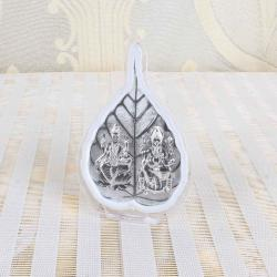 Silver Plated Laxmi Ganesha Leaf Shape Table Top Frame for Delhi