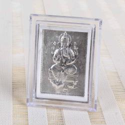 Silver Plated Lord Ganesha Table Top Frame for Baroda