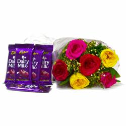 Six Mix Roses Bouquet with Bars of Cadbury Dairy Milk Chocolates for Ghaziabad