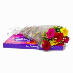 Six Mix Roses Bouquet with Cadbury Celebration Chocolate  Box for Ghaziabad
