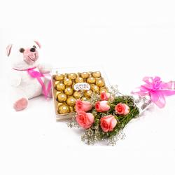 Six Pink Roses and Ferrero Rocher with Cuddly Bear for Mathura