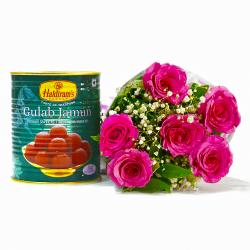 Six Pink Roses Bouquet with Tempting Gulab Jamuns for Mumbai