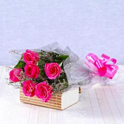Six Pink Roses Bouquet for Thanjavur