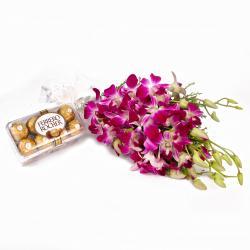 Six Purple Orchids Bunch and 16 Pcs Ferrero Rocher Chocolates for Delhi