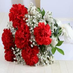 Six Red Carnations Bunch for Chennai