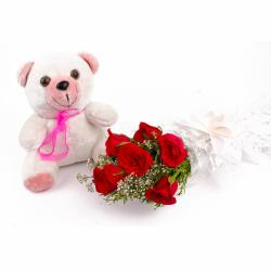 Six Red Roses and Teddy Bear Combo for Raipur