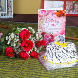 Six Red Roses and Vanilla Cake with Birthday Card for North Goa