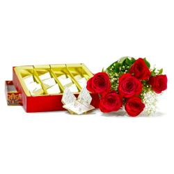 Six Red Roses Bouquet with Kaju Katli Box for Hospet