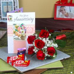 Six Red Roses Hand Bunch and Assorted Chocolates with Anniversary Greeting Card for Chandigarh