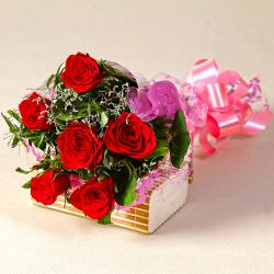 Six Red Roses Love You Bouquet for Hospet