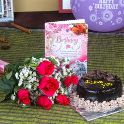 Six Roses Bunch and Chocolate Cake with Birthday Greeting Card for North Goa